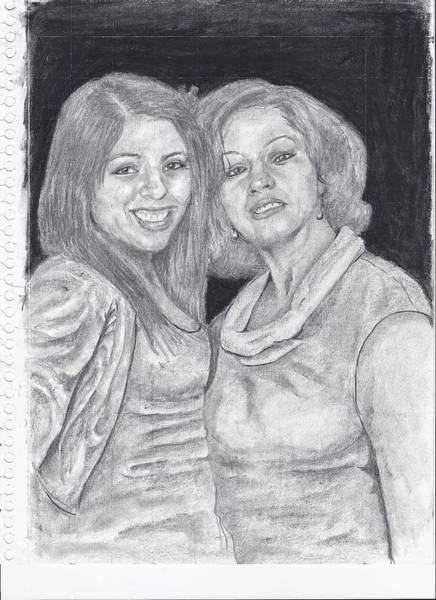 Spanish People Drawing - Mother And Daughter by Earl Johnson