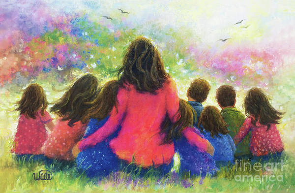 Wall Art - Painting - Mother And Eight Children In Garden by Vickie Wade