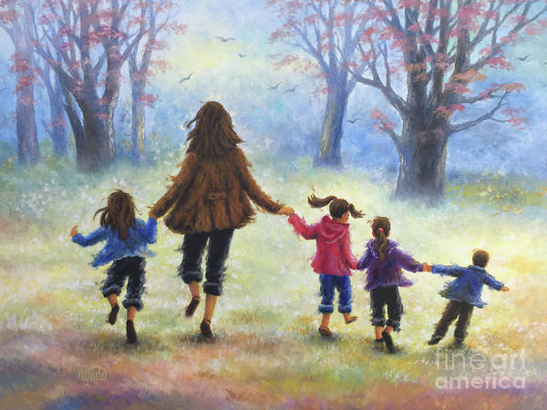 Wall Art - Painting - Mother And Four Children Out For A Walk by Vickie Wade