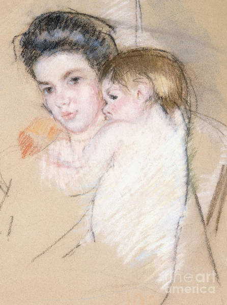 Intimate Portrait Wall Art - Pastel - Mother And Nude Child by Mary Stevenson Cassatt