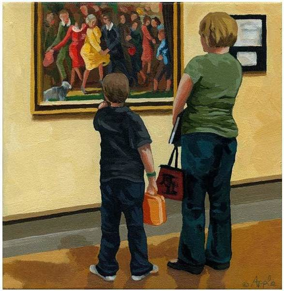 Wall Art - Painting - Mother And Son At Art Museum by Linda Apple