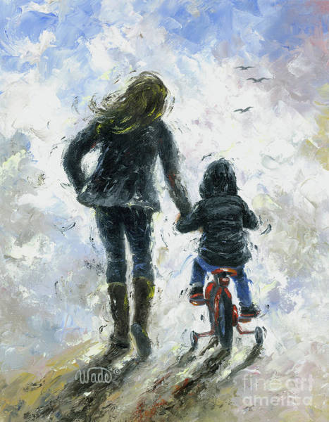 Wall Art - Painting - Mother And Son First Bike Ride by Vickie Wade