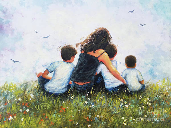 Wall Art - Painting - Mother And Three Sons Hugging by Vickie Wade