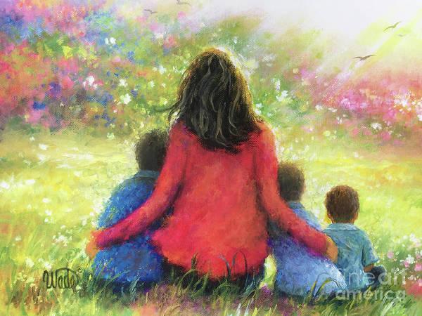 Wall Art - Painting - Mother And Three Sons In The Garden by Vickie Wade