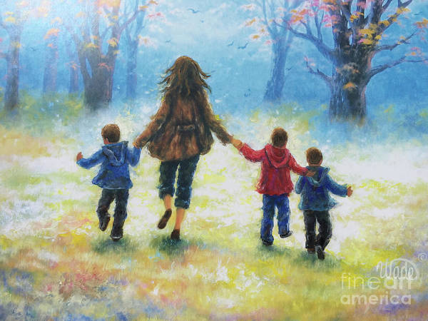 Wall Art - Painting - Mother And Three Sons  by Vickie Wade