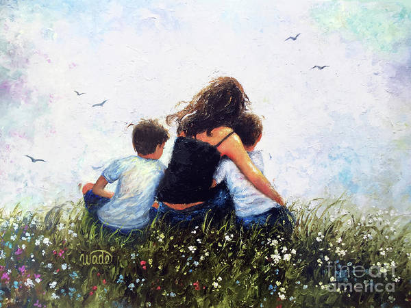 Wall Art - Painting - Mother And Two Sons Hugging by Vickie Wade