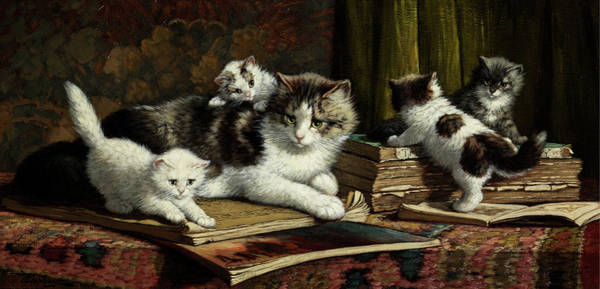 Kitten Play Wall Art - Painting - Mother Cat by Cornelis Raaphorst