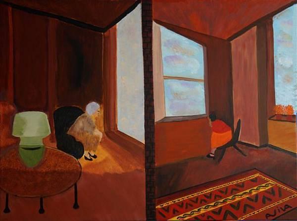 Wall Art - Painting - Mother. Daughter by Aviva Moshkovich