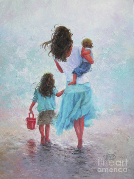 Wall Art - Painting - Mother Daughter Baby Son Beach			 by Vickie Wade