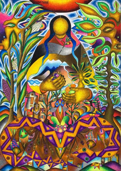 Wall Art - Pastel - Mother Earth - Pachamama by Mamani Mamani