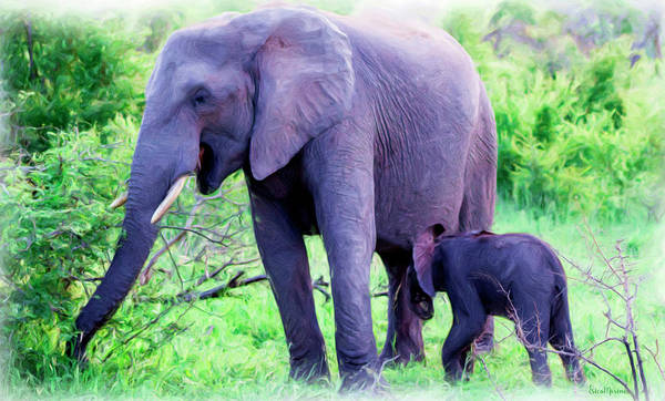 Painting - Mother Elephant And Baby - Painting by Ericamaxine Price