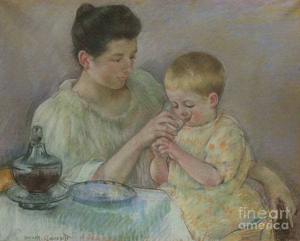 Pastel - Mother Feeding Child by Mary Stevenson Cassatt