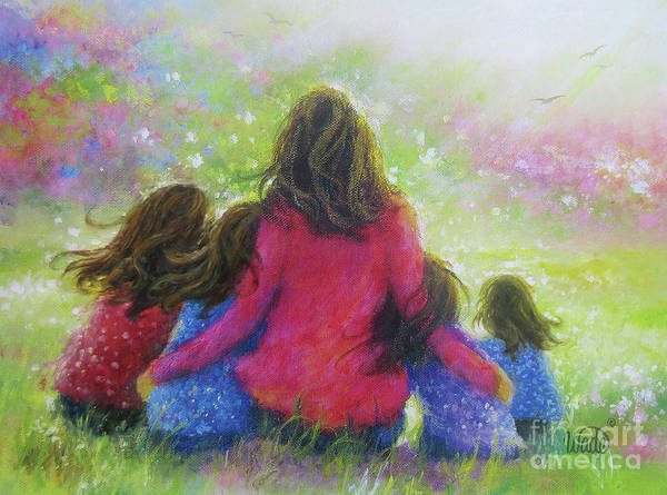 Wall Art - Painting - Mother Four Daughters Garden			 by Vickie Wade