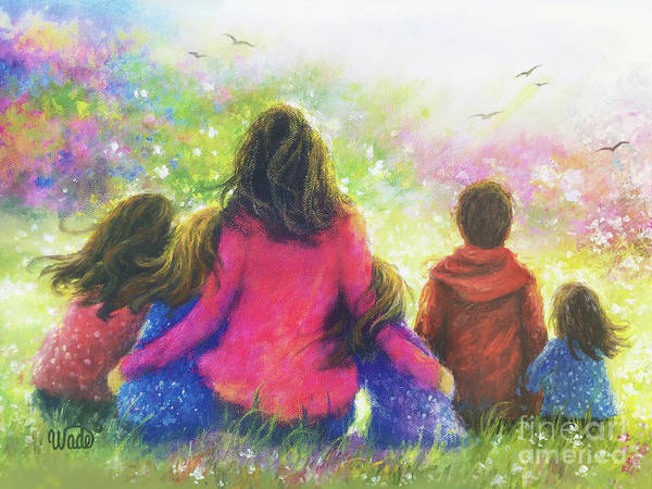 Wall Art - Painting - Mother Four Daughters Son In Garden by Vickie Wade