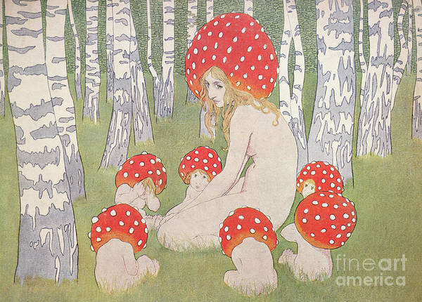 Wall Art - Drawing - Mother Mushroom With Her Children by Edwars Okun