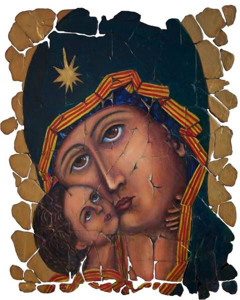 Digital Art - Mother Of God Fresco  by OLena Art - Lena Owens
