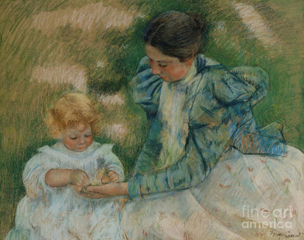 Pastel - Mother Playing With Child by Mary Stevenson Cassatt