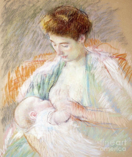 Pastel - Mother Rose Nursing Her Child by Mary Stevenson Cassatt