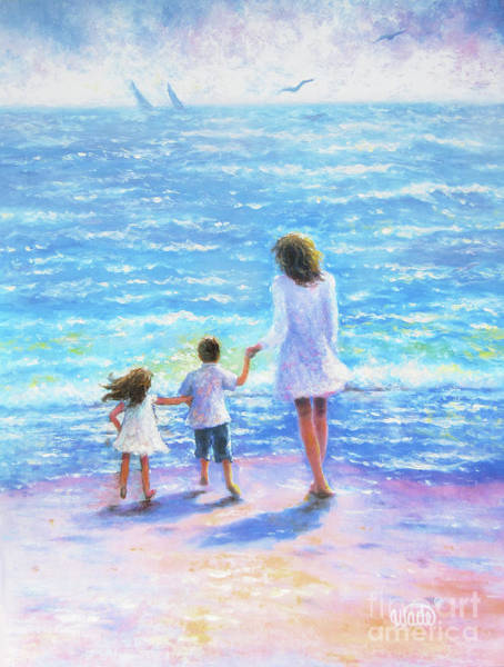 Wall Art - Painting - Mother Son Daughter Beach by Vickie Wade