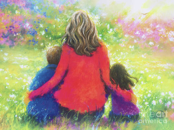 Wall Art - Painting - Mother Son Daughter In Garden by Vickie Wade