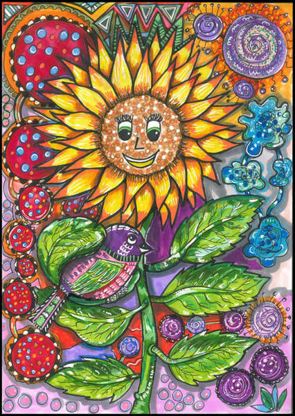 Me Too Painting - Mother Sunflower And Bird by Suzy Ripley