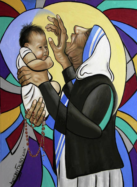 Wall Art - Painting - Mother Teresa, A Prayer From The Heart by Anthony Falbo