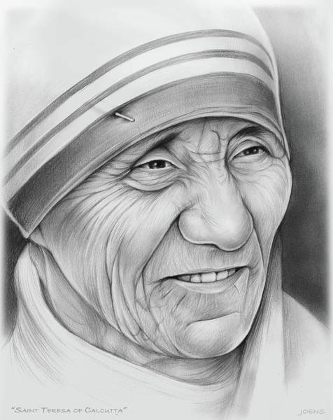 Saint Wall Art - Drawing - Mother Teresa by Greg Joens
