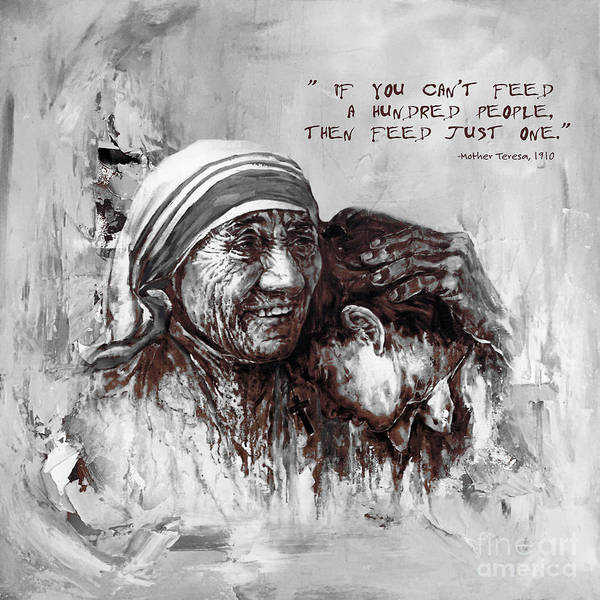 Nobel Painting - Mother Teresa Of Calcutta Portrait  by Gull G