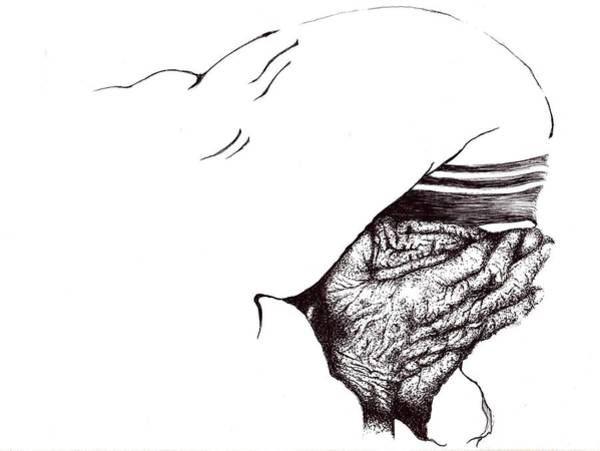 Drawing - Mother Teresa-pray Today by Doug Johnson