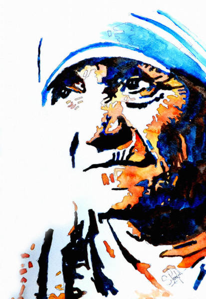 Black Beach Painting - Mother Teresa by Steven Ponsford