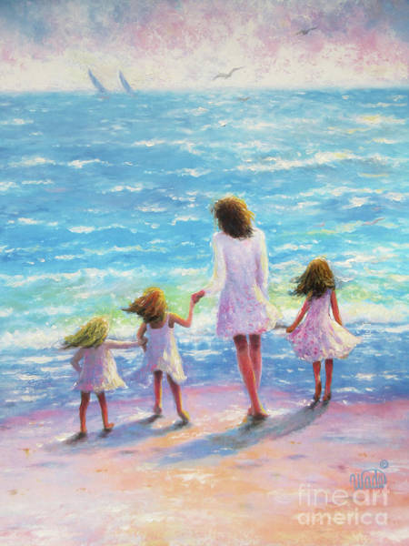 Wall Art - Painting - Mother Three Daughters Beach by Vickie Wade