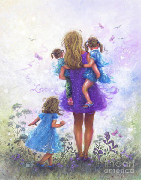 Wall Art - Painting - Mother Three Daughters Blonde Mom by Vickie Wade