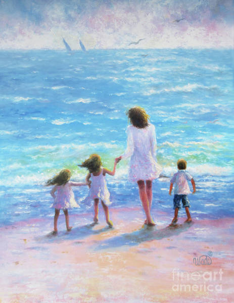 Wall Art - Painting - Mother Two Daughters Son Beach by Vickie Wade