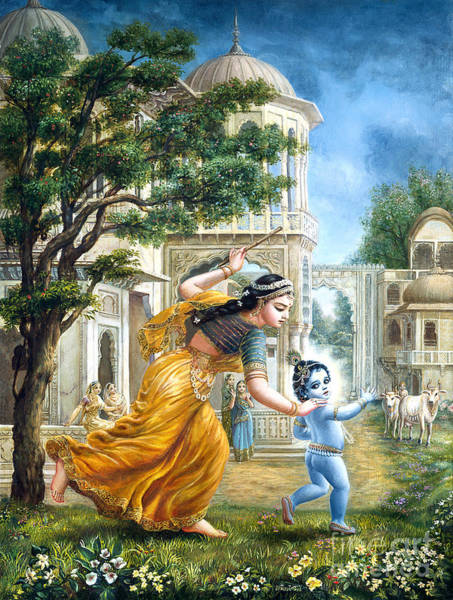 Veda Wall Art - Painting - Mother Yashoda Tries To Catch Krishna by Dominique Amendola