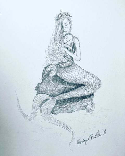 Drawing - Motherhood Mermaid by Monique Faella