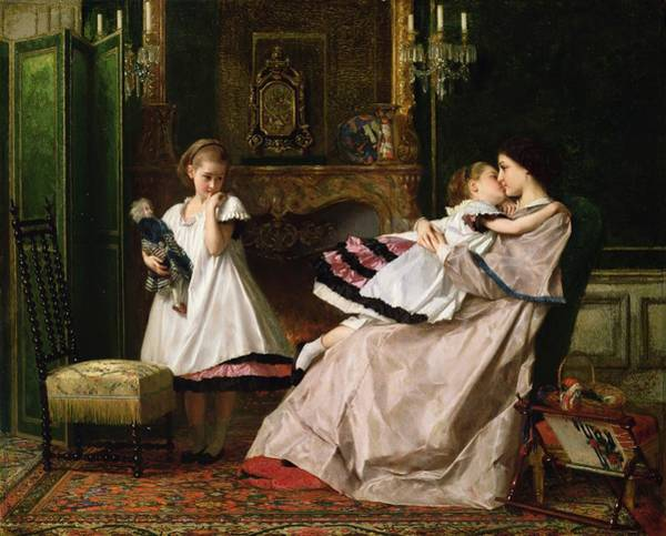 Tapestry Painting - Motherly Love by Gustave Leonard de Jonghe