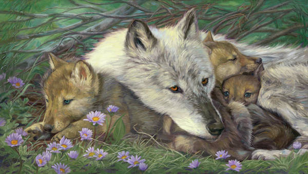 Canine Painting - Mother's Comfort by Lucie Bilodeau