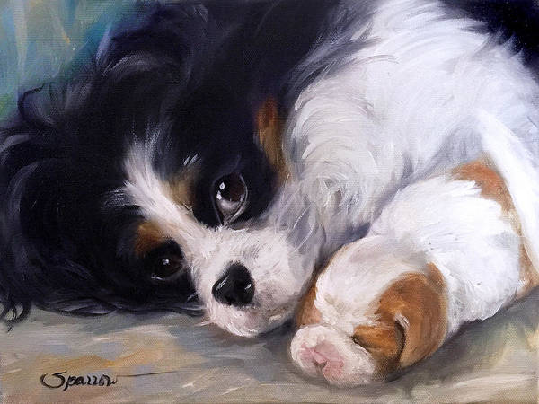 King Charles Spaniel Painting - Mother's Day by Mary Sparrow