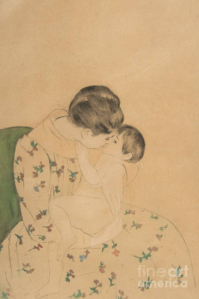 Care Drawing - Mother's Kiss by Mary Stevenson Cassatt
