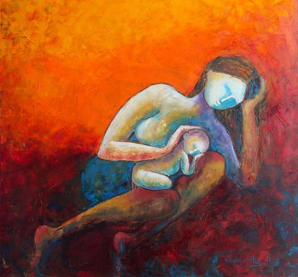 Womb Painting - Mother's Lap by Sagarika Sen