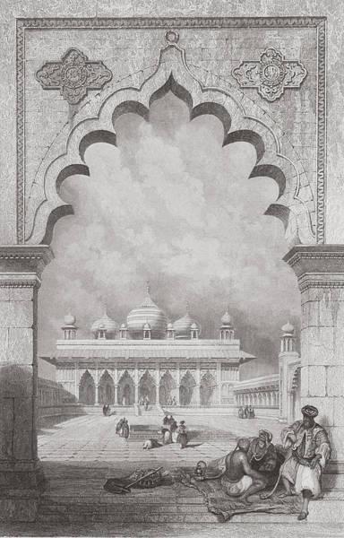 Grey Skies Drawing - Moti Musjid Or Pearl Mosque by David Roberts