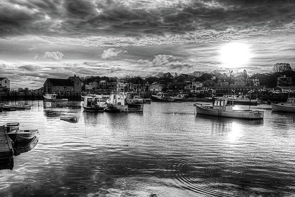 Photograph - Motif #1 Sunrise Rockport Ma Black And White by Toby McGuire