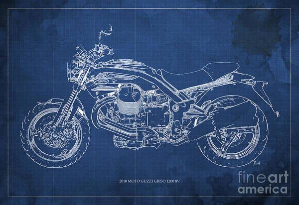 Enduro Wall Art - Painting - Moto Guzzi Griso1200 8v Motorcycle Blueprint, Blue Background by Drawspots Illustrations