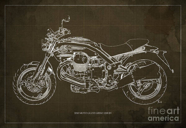 Moto Blueprint Wall Art - Painting - Moto Guzzi Griso1200 8v Motorcycle Blueprint, Brown Background by Drawspots Illustrations