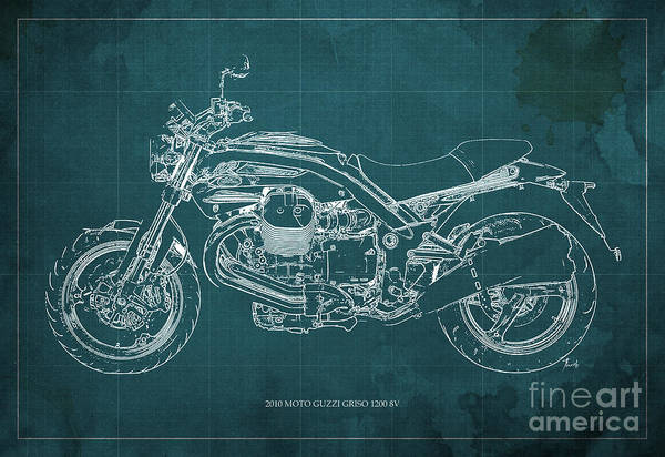 Enduro Wall Art - Painting - Moto Guzzi Griso1200 8v Motorcycle Blueprint, Green Background by Drawspots Illustrations