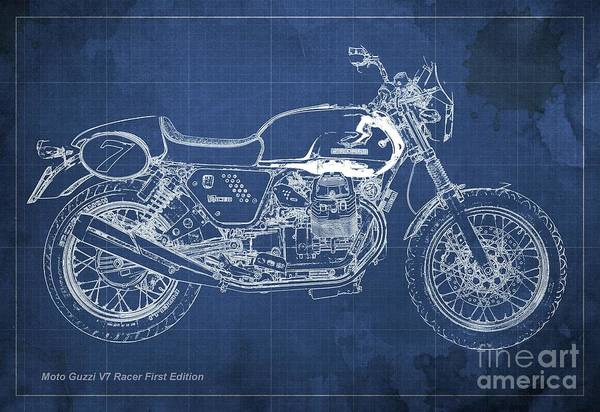 Racer Digital Art - Moto Guzzi V7 Racer First Edition Blueprint Blue Background by Drawspots Illustrations