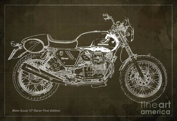 Racer Digital Art - Moto Guzzi V7 Racer First Edition Blueprint Brown Background by Drawspots Illustrations