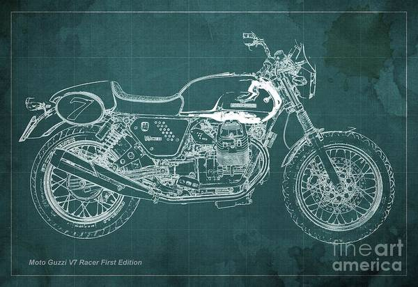 Racer Digital Art - Moto Guzzi V7 Racer First Edition Blueprint Green Background by Drawspots Illustrations