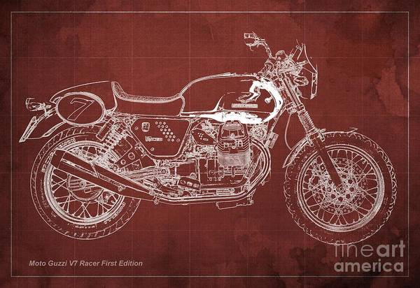 Racer Digital Art - Moto Guzzi V7 Racer First Edition Blueprint Red Background by Drawspots Illustrations