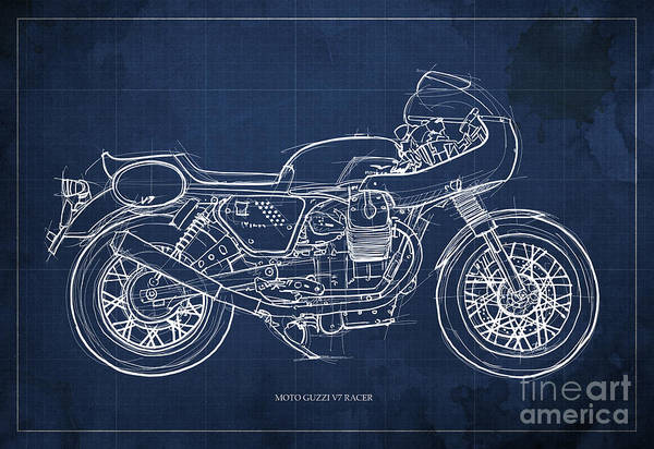 Racer Digital Art - Moto Guzzi V7 Racer Motorcycle by Drawspots Illustrations